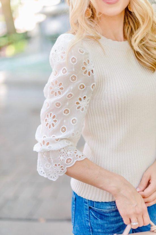 Rebecca Taylor eyelet sleeve sweater