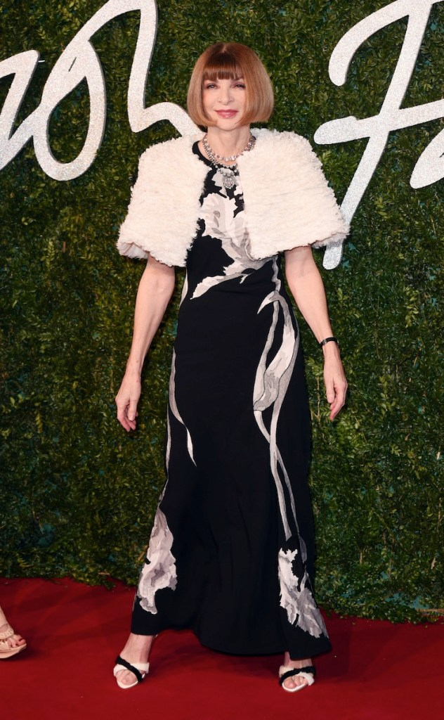 Anna Wintour wear Maison Martin Margiela by John Galliano at 2014 BRITISH FASHION AWARDS (Photo by David Fisher/REX)