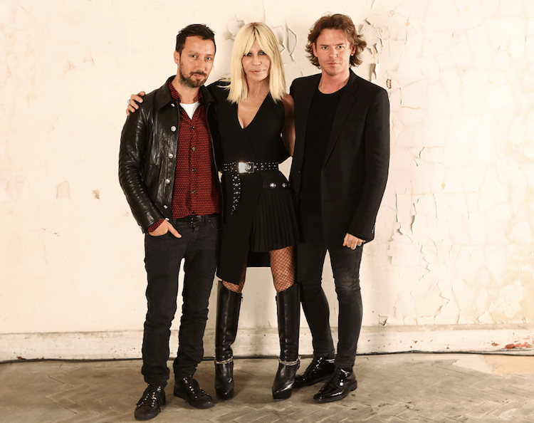 Anthony Vacarello, Donatella Versace and Christopher Kane