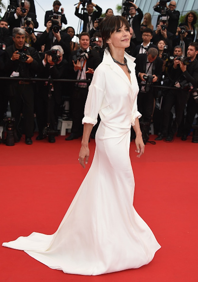 """CANNES, FRANCE - MAY 14:  Sophie Marceau attends the """"Mad Max : Fury Road""""  Premiere during the 68th annual Cannes Film Festival on May 14, 2015 in Cannes, France.  (Photo by Venturelli/WireImage)"""