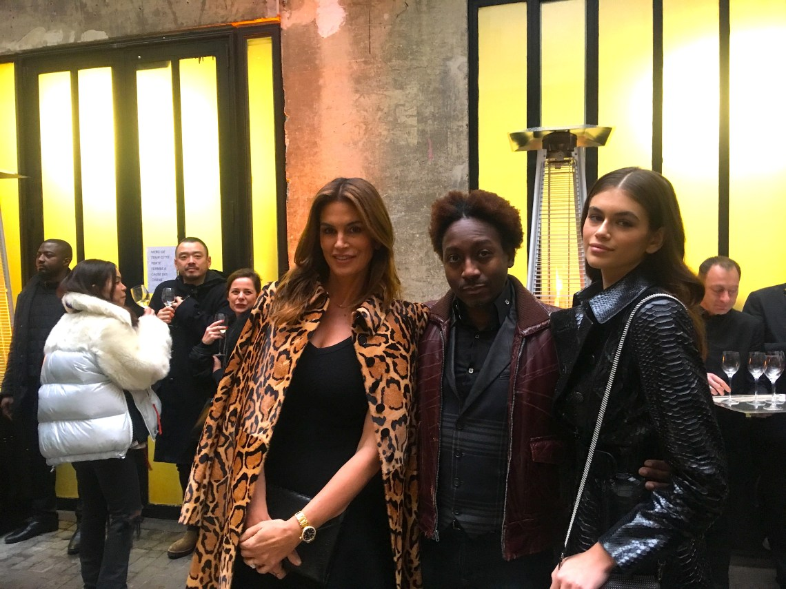 Supermodel Cindy Crawford; Fashion Insider founder & chief editor, Marcellous L. Jones and model Kaia Gerber pose for a photo at the tribute to honor Azzedine Alaïa in Paris (Sunday, January 21, 2018).