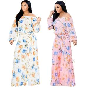 2019 European and American Women's Print Loose Sexy Wrapped Chest Jumpsuit - thefashionique