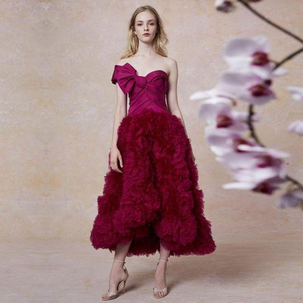 Adyce 2019 New Strapless Lace Bodycon Celebrity Evening Party Dress Women Elegant Wine Red Ruffles Floral Club Dress Vestidos - thefashionique
