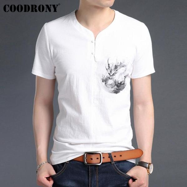 COODRONY T Shirt Men Cotton Linen Short Sleeve T-Shirt Men 2019 Summer Chinese Style Painted Henry Collar Tee Shirt Homme S95028 - thefashionique