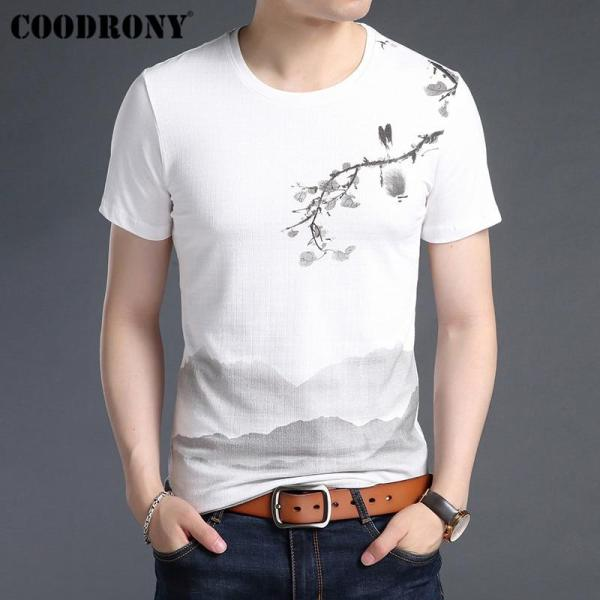 COODRONY T Shirt Men Soft Cotton Linen Short Sleeve T-Shirt Men 2019 Summer Chinese Style Painting O-Neck Tee Shirt Homme S95029 - thefashionique