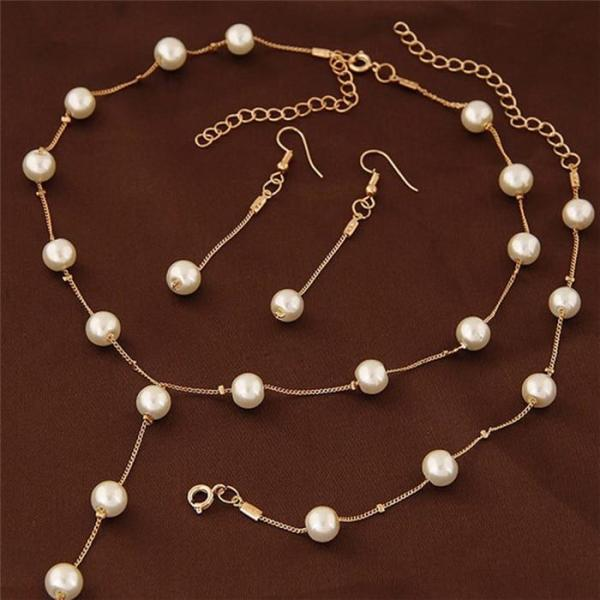 Imitation Pearl Jewelry Sets Women Necklace Bracelet Earrings Engagement Jewelery  Bridal Wedding Accessories #228451 - thefashionique
