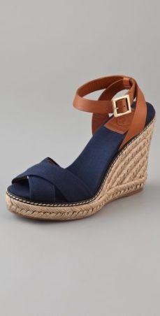 Crisscross Wedge Espadrilles - These canvas Tory Burch wedges feature crisscross straps at the vamp. Buckle closure at leather ankle strap