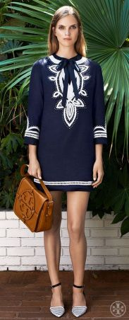 Offset crisp navy and white with the warmth of saddle-brown leather - Tory Burch Resort 2014