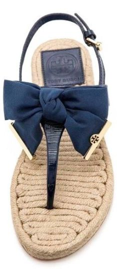 Tory Burch Navy Leather Bow Espadrilles