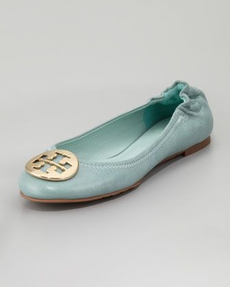 Tory Burch Reva Tumbled Ballerina Flat in Sea Glass