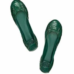 Tory Burch Watersnake Flats in Malachite Green