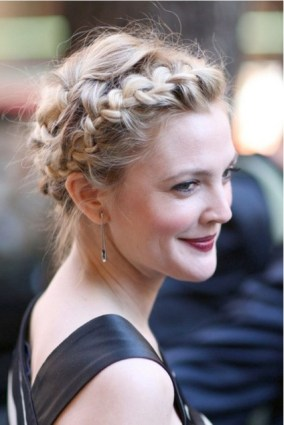 drew barrymore braided bun
