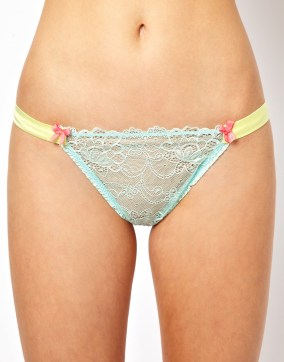 Mimi Holliday Woozie Lace & Silk Satin Thong