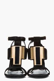 SAINT LAURENT Black & gold suede Janis T-strap Sandal