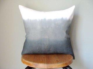 Grey Ombre Dip Dye Pillow
