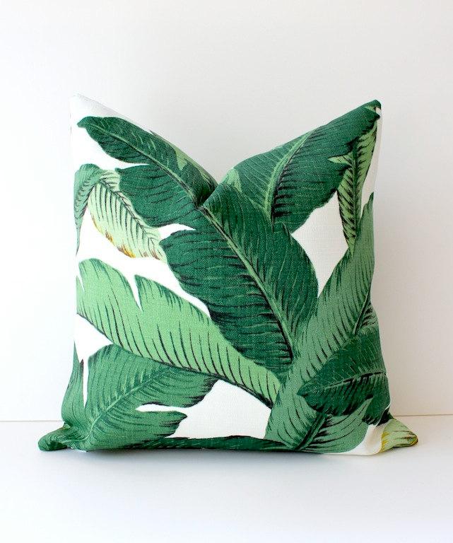 Palm Leaves Print Pillow
