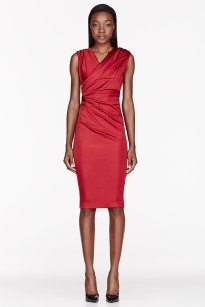 DSQUARED2 Red Satin Gathered cocktail Dress