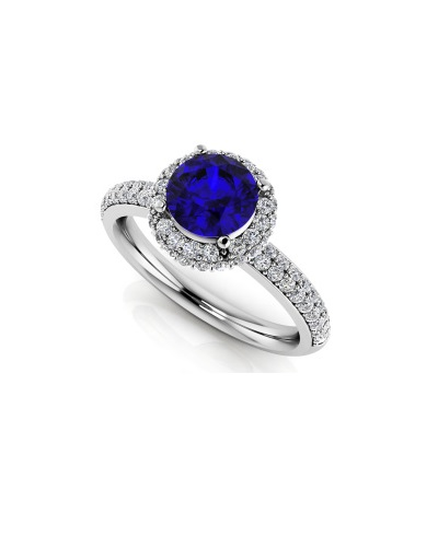 Anjolee Gemstone with Double Halo Anniversary Ring