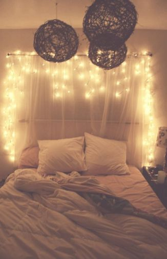 firefly lights over bed