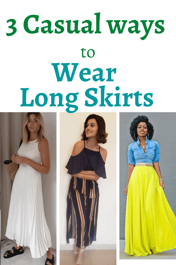 how to wear long skirts casually
