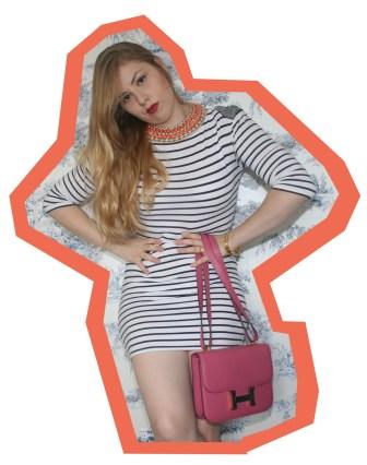 Anna dello Russo for H&M necklace, Hermes Constance bag and Cartier Love bracelets