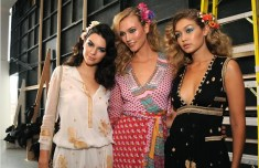 A trio of modern supermodels; Kendall Jenner, Karlie Kloss and Gigi Hadid backstage at Diane von Furstenberg