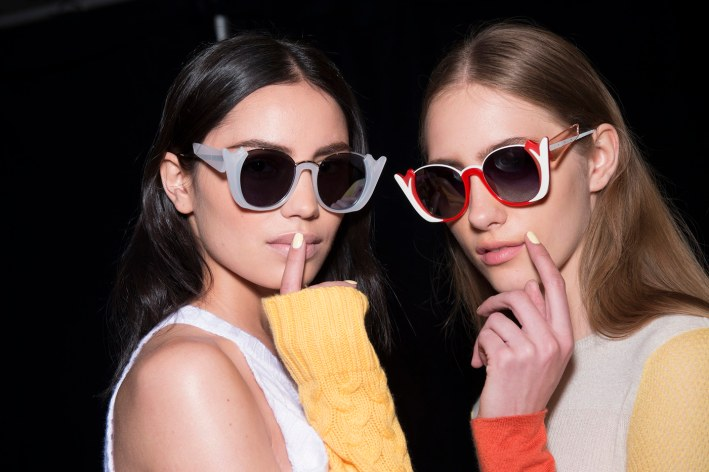 Models backstage at Prabal Gurung rocking some serious shades.