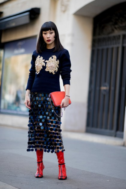 04-paris-spring-2019-street-style-navy-applique-sweater-sequined-skirt-red-bootie-heels