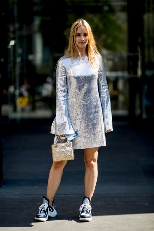 07-paris-haute-couture-fall-2018-street-style-metallic-silver-dress-mini-bag-chunky-sneakers