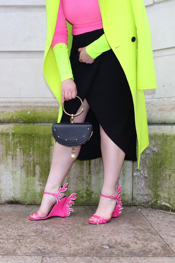 Neon outfit woman london fashion week zara coat jumper Chloe nile Minaudière bag prada flame sandals