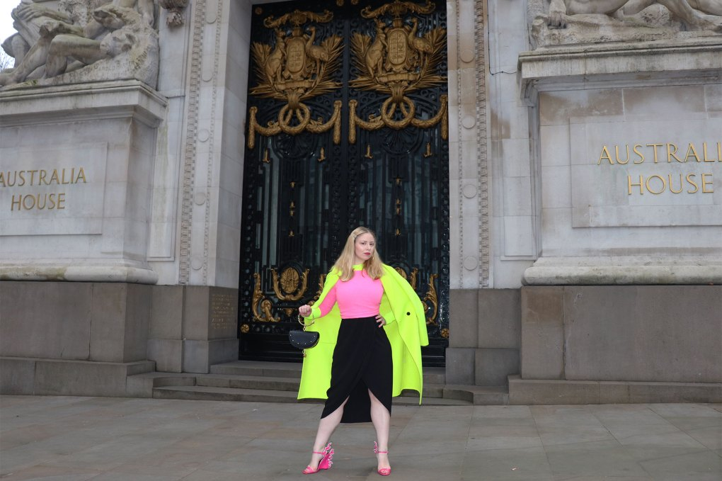 Neon outfit woman london fashion week zara coat jumper Chloe nile bag prada flame sandals