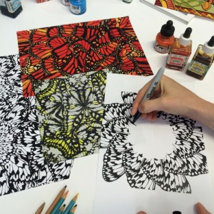 "Matthew Williamson ""Butterfly Wheel"" painted in the studio"