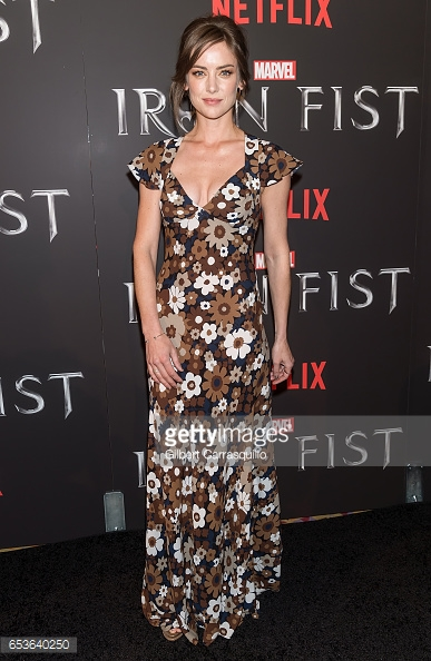 Jessica Stroup at the Iron Fist premiere in Michael Kors Spring 2017 collection