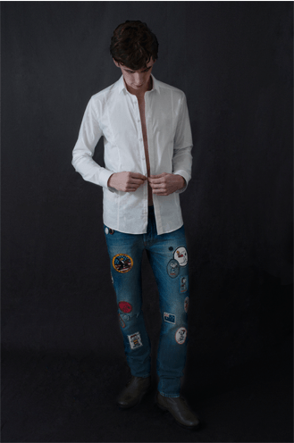 Roman wears Les Hommes classic white shirt Roy Rogers patch work denim (photograph: Alexia Mariani) ©The Fashion Plate Magazine, LLC.