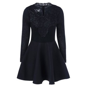 Lace Insert Knit Fit And Flare Dress