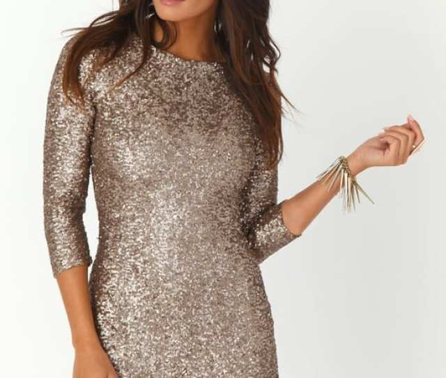 Nude Sequined New Year Eve Party Dress