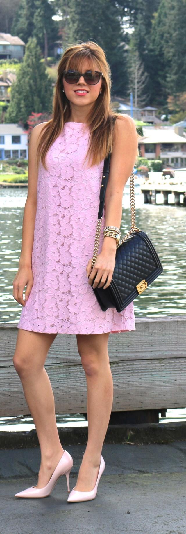 BB-Dakota-Savannah-Lace-Shift-Dress, Nordstrom, Chanel-Boy-Bag, Dior-Pink-Shoes