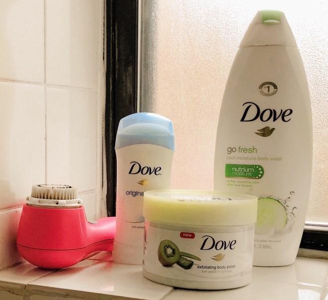 Dove Exfoliating Body Polish, Dove beauty bar, dove body wash, dove products
