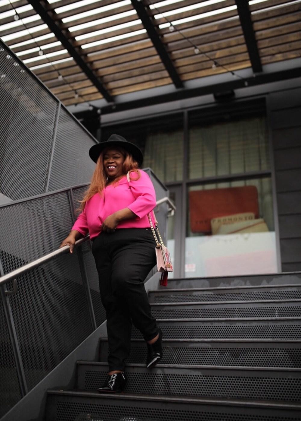 TALBOTS, PETITE PLUS, plus petite clothing, pink top, black jeans, plus size fashion