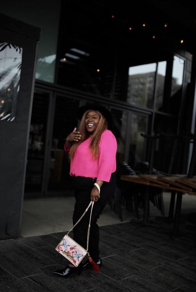 TALBOTS, PETITE PLUS, plus petite clothing, pink top, black jeans, plus size fashion, petite fashion