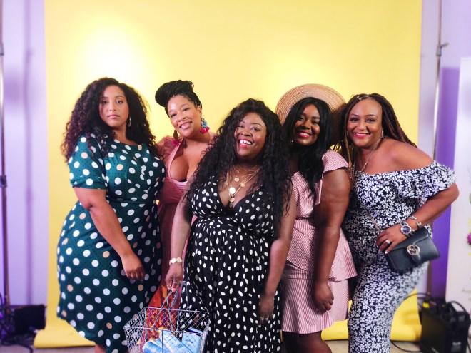 SheaMoisture's New Orleans pop-up shop, plus size polka dot dress, SheaMoisture, New Orleans, Essie Golden, Nikka Free, plus size blogger