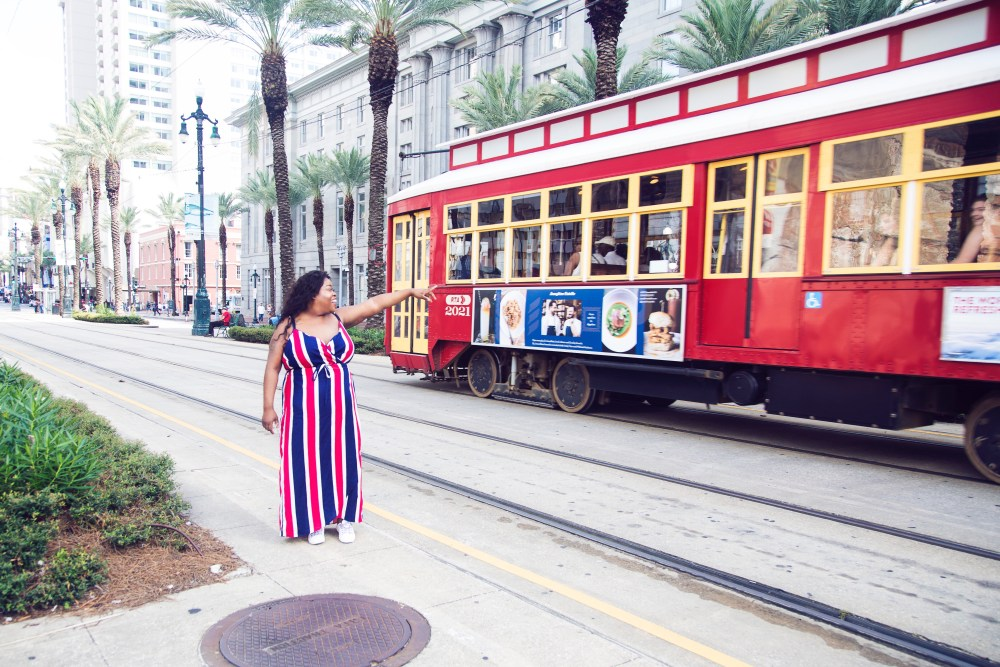 New Orleans' street car, brittphotosmith.com, Red, white and blue dress, French Quarters, New Orleans
