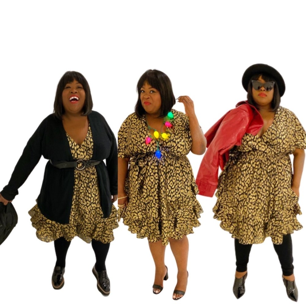 ASHLEY STEWART X KENDALL + KYLIE | CHEETAH DRESS, plus size holiday dress