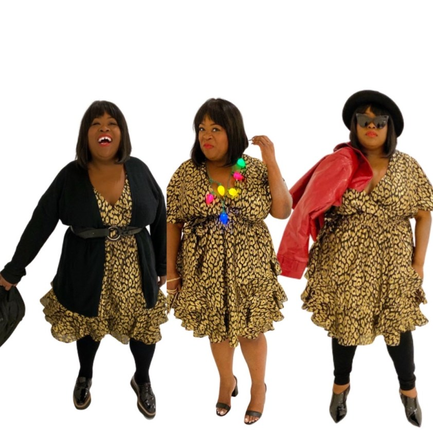 ASHLEY STEWART X KENDALL + KYLIE | CHEETAH DRESS, plus size one dress 3 ways
