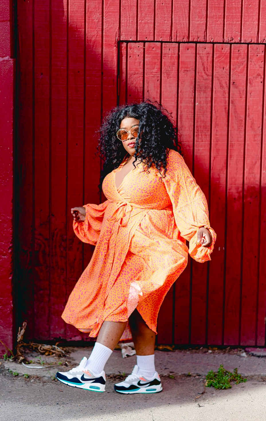 Eloquii dress, nike sneakers, Plus-Size Streetwear, How To Plus-Size Streetwear: Dresses, Skirts, and Sneakers, thefatgirloffashion