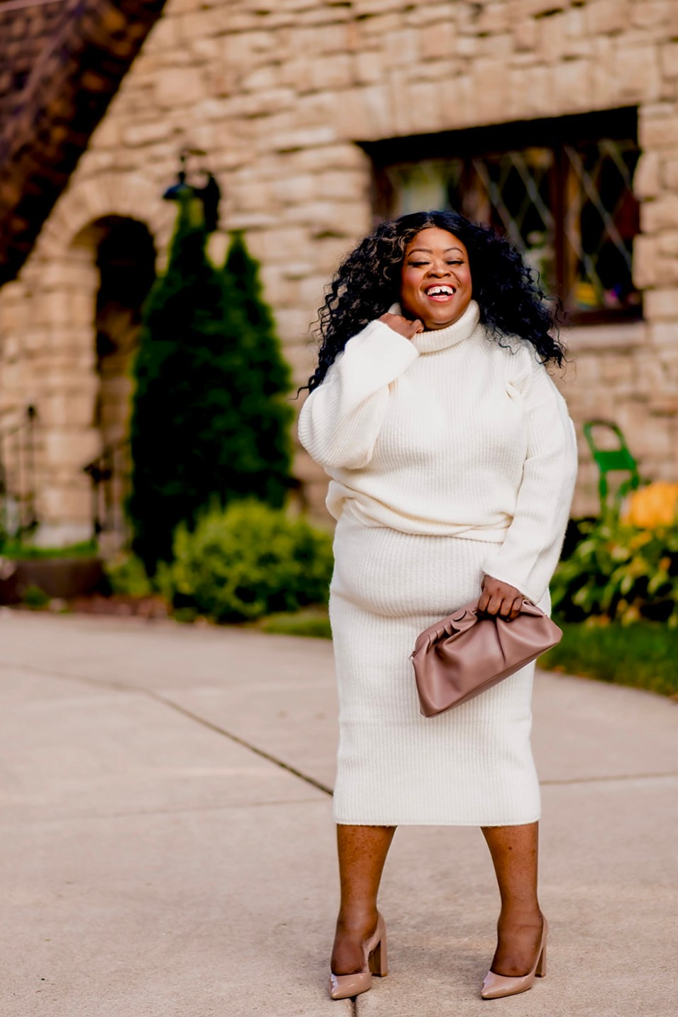 Monochromatic Plus-Size Fall Sweater Set, cream sweater set