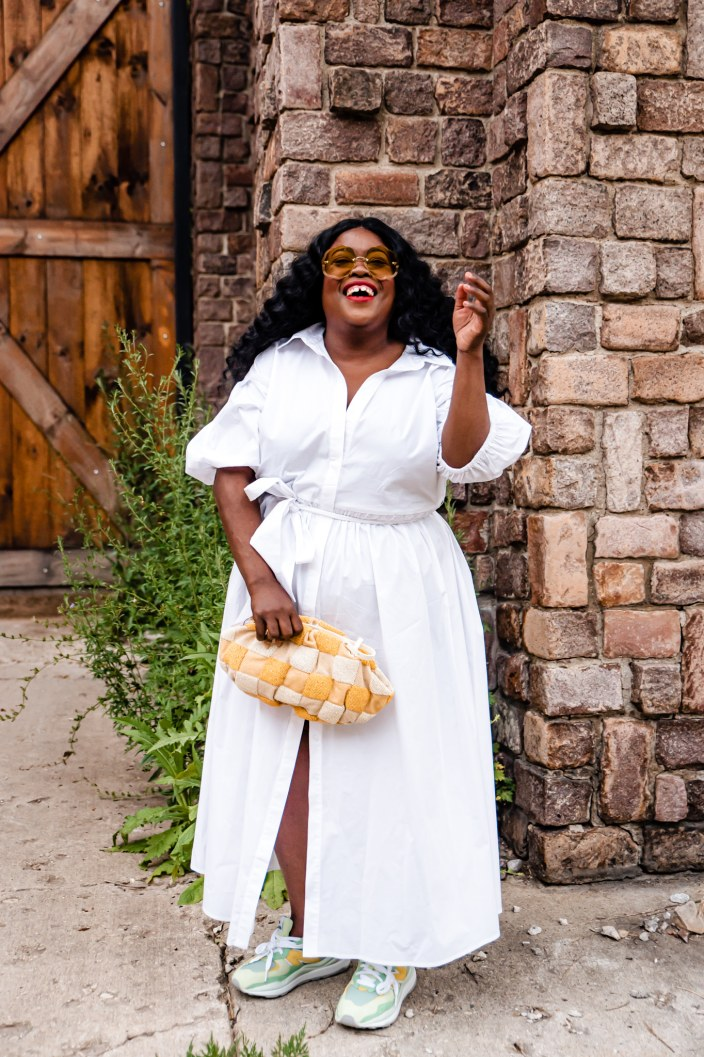 8 must-haves Eloquii all-white dresses, new balance tennis shoes