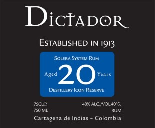 Dictador Distillery Icon Reserve Aged 20 Years Solera System Rum review by the fat rum pirate