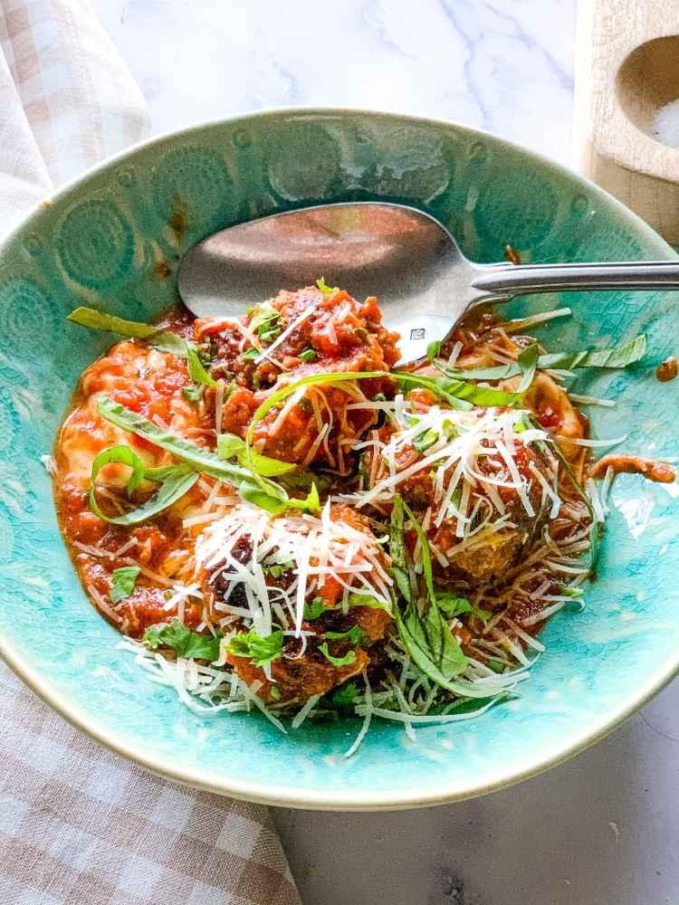 Dish of meatballs