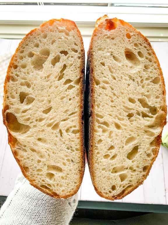 Cut natural yeast sourdough bread shown
